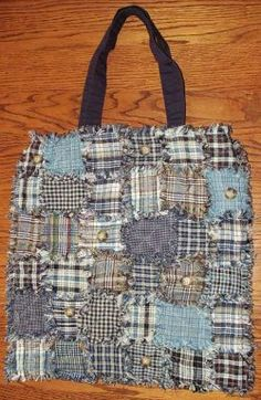 Homespun Rag Quilt Tote  - Gonna try this with alternating pieces of denim and the plaid fabric!