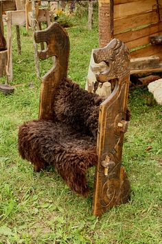 Wooden bench of viking. Festival of experimental archaelogy. Kernave. Lithuania