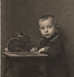 Stuffed bunny rabbit toy and little boy - Antique real photo photograph RPPC