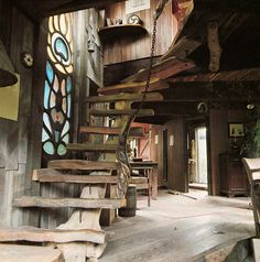 rustic staircase, stained glass.