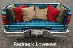 Talk about a tailgate bench loveseat, bench, truck, garag, redneck, hous, front porches, man caves, hilarious photos