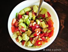 Cucumber tomato onion salad:  Ingredients        2 cucumbers, diced      2 tomatoes, diced      4 spring onions, diced      1/4 cup apple cider vinegar      1/4 cup water      3 tablespoons sugar      1/4 teaspoon salt      1/4 teaspoon ground black pepper    Instructions        Combine all ingredients together and store in an airtight container in the refrigerator up to 7 days.