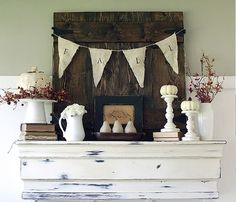like the white accents on this mantel