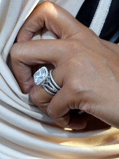 #STUNNING #ENGAGEMENTRING #ENGAGEMENT #RING ON #LaLa #Anthony #CARMELOANTHONY. LOVE ALL THE #MICROPAVE #BANDS WHICH WE SPECIALIZE IN HERE AT #LAURENB #LAURENBJEWELRY
