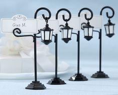 """Paris Theme - Whether it's a #MardiGras celebration or a #Paris themed gathering, these """"Bourbon Street"""" Place Card holders will add a little flare to your event!"""