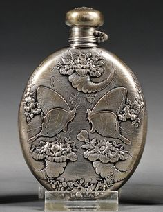 Small flask with butterfly and cornucopia design