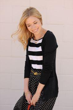 @Kayley Heeringa wearing our Long and Lean Cardigan - love this outfit! polka dots, handbags, louisvuitton handbag, oranges, handbag purs, stripes, chevron, orang handbag