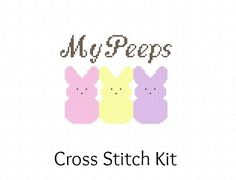 My Peeps Candy Easter Cross Stitch KIT by ActsofCraftiness on Etsy. , via Etsy.