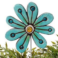 Ceramic flower garden art. Jade turquoise garden decor. www.gvega.com.