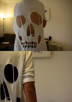 Crânio camisa DIY. Dia das bruxas