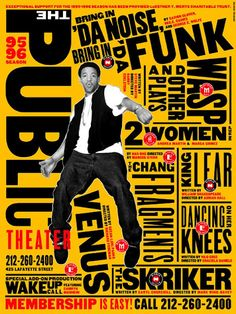 """Paula Scher's poster for the New York Public Theater, focusing on the production of """"Bring in 'Da noise, Bring in 'Da Funk"""""""