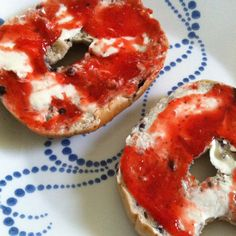 Red, White, and Blue Bagels! Blueberry bagel, cream cheese, and strawberry jam. Fun breakfast for any patriotic holiday!