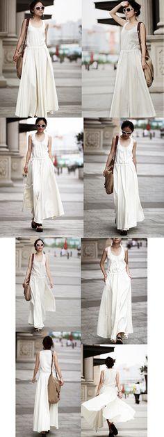 Long Maxi Dress  Summer Dress in White Linen Bridemaid by clothnew, $65.99