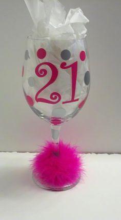 21st Birthday Wine Glass. $12.00, via Etsy.