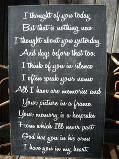 MEMORY sign - 11x18 wedding memory sign - I thought about you today....- In Memory of - via Etsy
