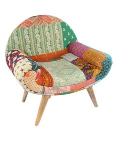 This Green Patchwork Boho Traveller Chair is perfect! #zulilyfinds
