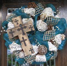 Deco Mesh Rustic CROSS BURLAP Wreath