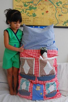 adorable dollhouse pillow with doll