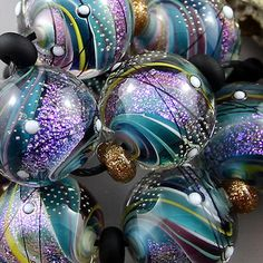 Magma Beads Glow Orbs Handmade Lampwork Beads <3<3<3GORGEOUS!