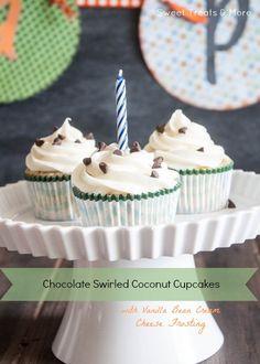 Chocolate Swirled Coconut Cupcakes for the Birthday Boy!