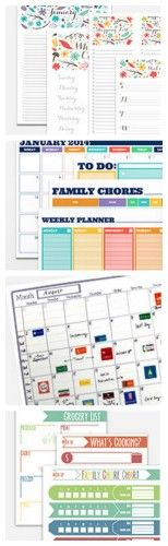 Free Printable 2014 Planner-- several calendars, shopping lists, chore charts and other printables to get organized!