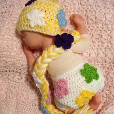 infant Rapunzel hat and diaper cover-crochet