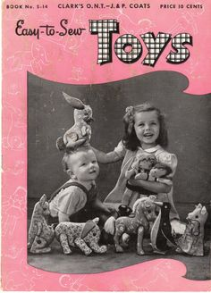 """Free PDF of pamphlet called """"Easy-to-Sew Toys"""". It was published in 1944 by Clark's O.N.T. – J. & P. Coats (the merger of these two companies became the Coats & Clark we know today). 15 pages long, there are patterns inside for six button jointed stuffed animals: a kangaroo, an elephant, a bunny, a horse, a penguin, and a pig. And there's a boy and a girl doll pattern."""