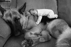 My two favorite things: Dogs and babies :)