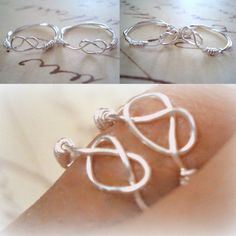 Love Knot Pair. Sister rings, Friendship rings or Mother and daughter rings