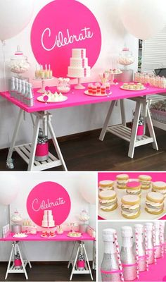 Neon Pink Celebrate themed birthday party + dessert table via Kara's Party Ideas KarasPartyIdeas.com