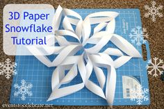 3D Paper Snowflake Tutorial -  step-by-step photos - perfect for a Winter Wonderland or FROZEN themed party! events to CELEBRATE!