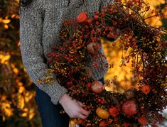 Bittersweet and rosehip wreath. Very pretty!