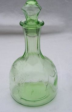 Green Cameo Depression Glass Decanter and Stopper