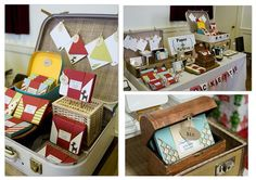 vintage suitcases display