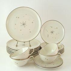 Vintage Dinnerware Set, Syracuse China Evening Star, Mid-Century Modern Atomic Dishes, 1950s 1960s. $84.00, via Etsy.