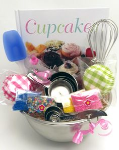 creative baker/ hostess Gift  idea- everything cupcake...sprinkles, cookbook, etc.