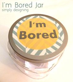 """I'm Bored Jar - a perfect jar for your kids to choose from when they say they are """"bored"""" I filled mine with a variety of activities, from fun ones to chores. #kids #boredombuster #craft #diy"""
