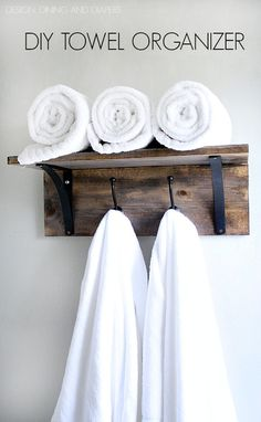 Rustic DIY Towel Organizer and Rack! Saves space and looks really easy to make. Tutorial included. via @Taryn {Design, Dining + Diapers} basement bathroom, towel organ, rustic diy, rustic bathroom decor diy, diy bathroom towel racks, diy towel, diy bathroom ideas, rustic bathroom ideas diy, diy projects