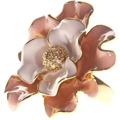 Wildfox Pink Enamel Flower Flower Ring ❤ liked on Polyvore