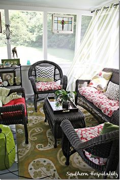 My screened porch has been completely renovated and furnished! Wonderful spot for summer entertaining. Stop by & see how I did it on a budget.
