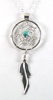 Native American Sterling Silver Turquoise Dreamcatcher Pendant