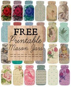 Free printable mason jars with designs....