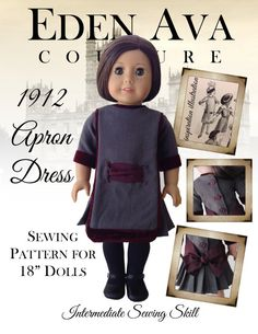 "Eden Ava Couture 1912 Apron Dress Sewing Pattern for 18"" American Girl Doll on Etsy, $7.99 american girl free patterns, doll pattern, sew pattern, sewing patterns"
