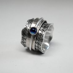 Sterling Silver Houndstooth Spinner Ring with by janiceartjewelry, $235.00