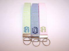 Monogrammed Seersucker Wristlet Key Fob. $8.00, via Etsy.
