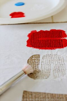 Painting burlap-this is tricky to paint because of the rough texture of burlap.