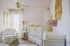 Glamorous Pink, Cream and Gold Nursery - Project Nursery...like the gold monogram on wall