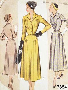Vintage 40s Dress Pattern  McCall