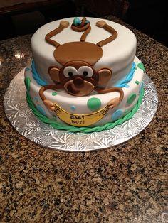 Monkey baby shower cake.
