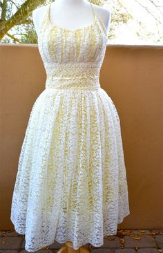 vtg Yellow with white LACE overlay PARTY by faintofheartvintage, $75.00